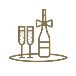 Icona festa locali con bottiglia di vino e flûte