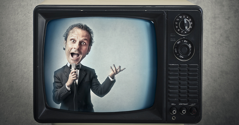 caricatura di un presentatore in tv